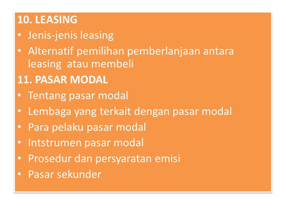 10. LEASING Jenis-jenis leasing. Alternatif pemilihan pemberlanjaan antara leasing atau membeli. 11. PASAR MODAL.