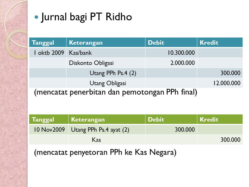 Jurnal bagi PT Ridho (mencatat penerbitan dan pemotongan PPh final)