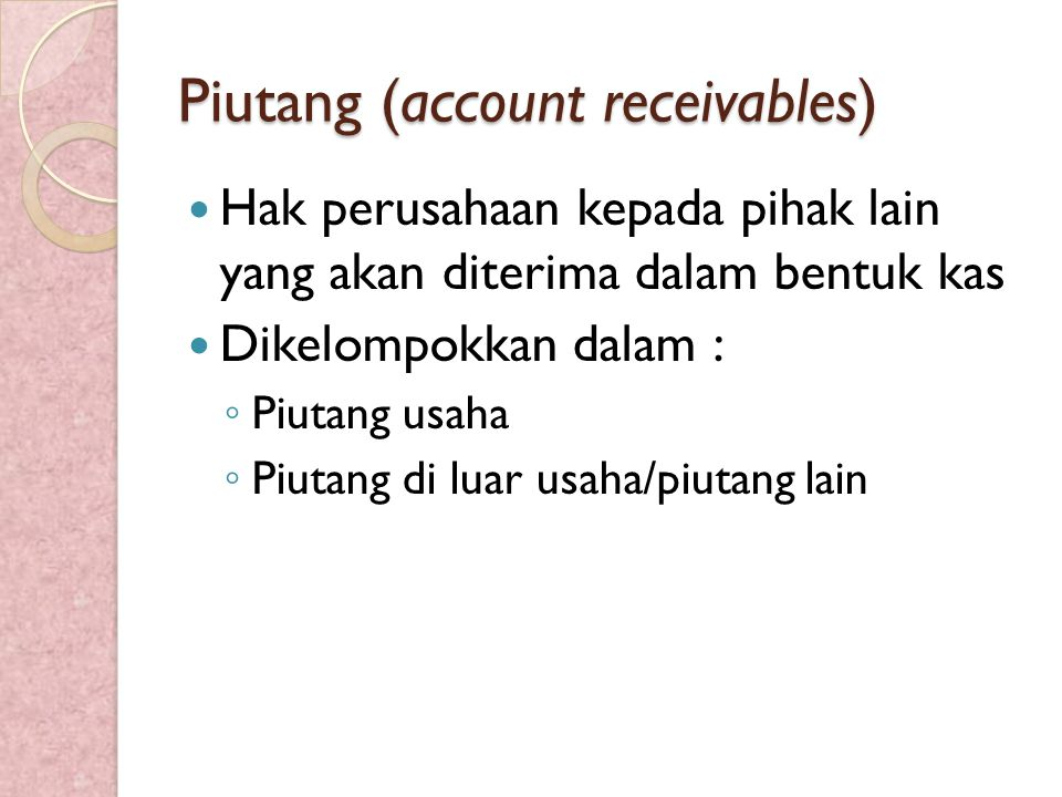 Piutang (account receivables)