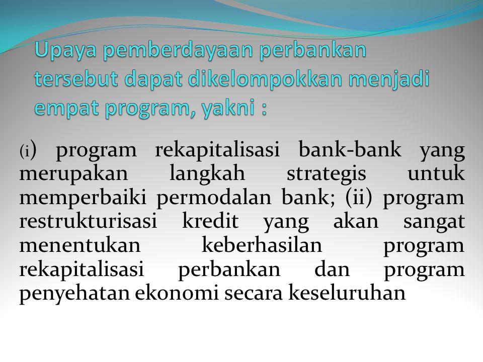 Upaya pemberdayaan perbankan tersebut dapat dikelompokkan menjadi empat program, yakni :