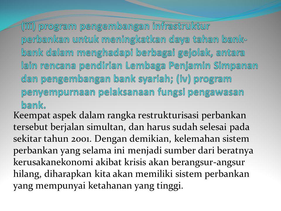 (iii) program pengembangan infrastruktur perbankan untuk meningkatkan daya tahan bank-bank dalam menghadapi berbagai gejolak, antara lain rencana pendirian Lembaga Penjamin Simpanan dan pengembangan bank syariah; (iv) program penyempurnaan pelaksanaan fungsi pengawasan bank.