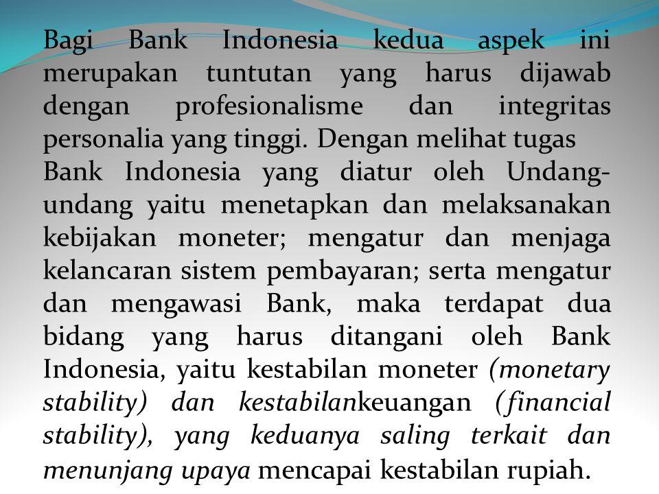 Bagi Bank Indonesia kedua aspek ini merupakan tuntutan yang harus dijawab dengan profesionalisme dan integritas personalia yang tinggi. Dengan melihat tugas