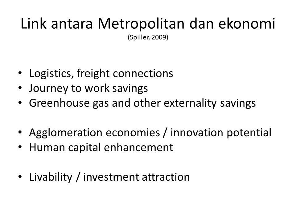 Link antara Metropolitan dan ekonomi (Spiller, 2009)