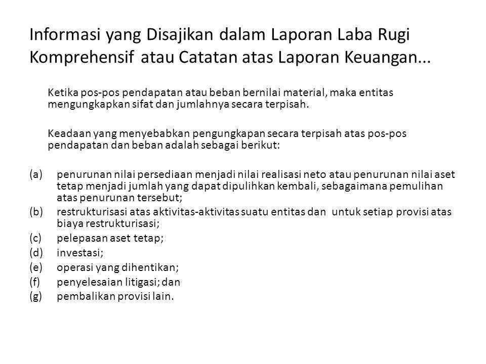 Informasi yang Disajikan dalam Laporan Laba Rugi Komprehensif atau Catatan atas Laporan Keuangan...