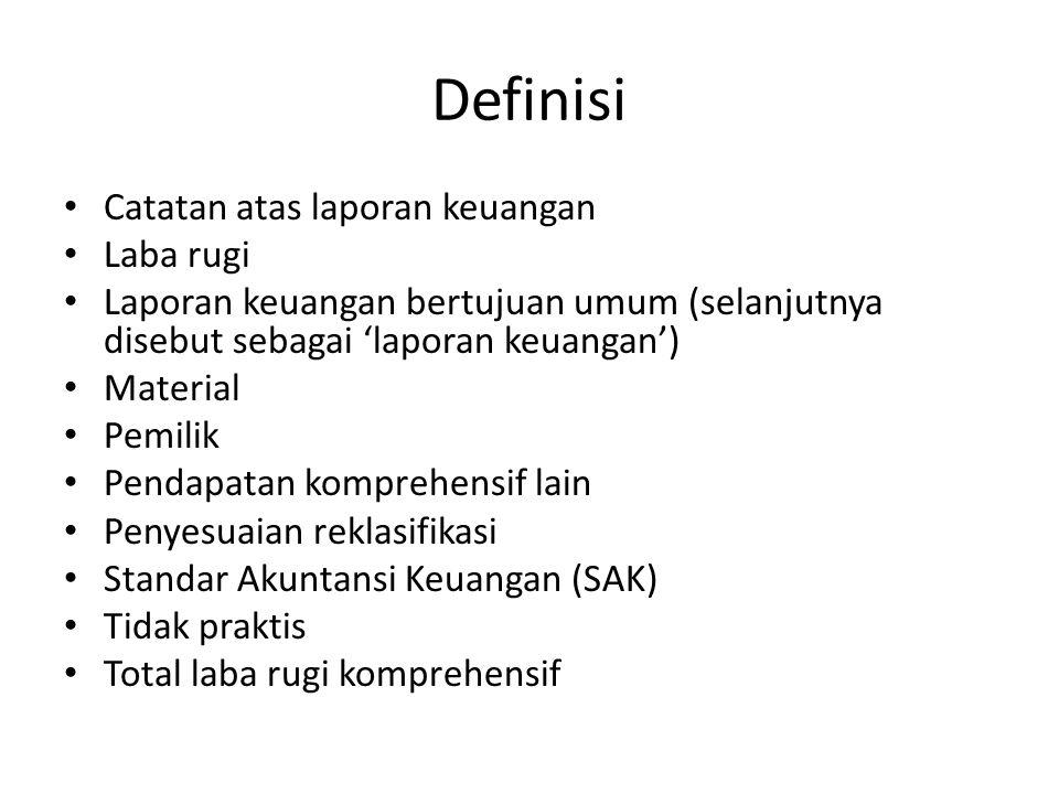 Definisi Catatan atas laporan keuangan Laba rugi