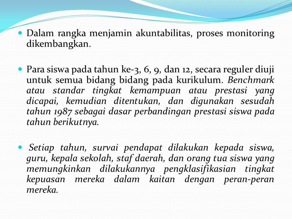 Dalam rangka menjamin akuntabilitas, proses monitoring dikembangkan.