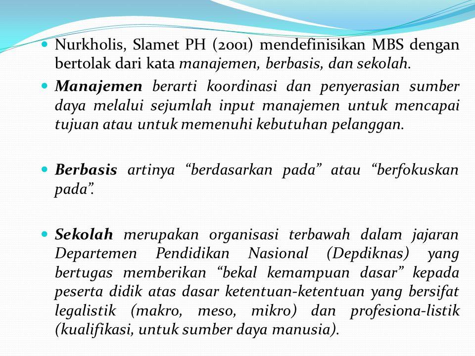 Nurkholis, Slamet PH (2001) mendefinisikan MBS dengan bertolak dari kata manajemen, berbasis, dan sekolah.