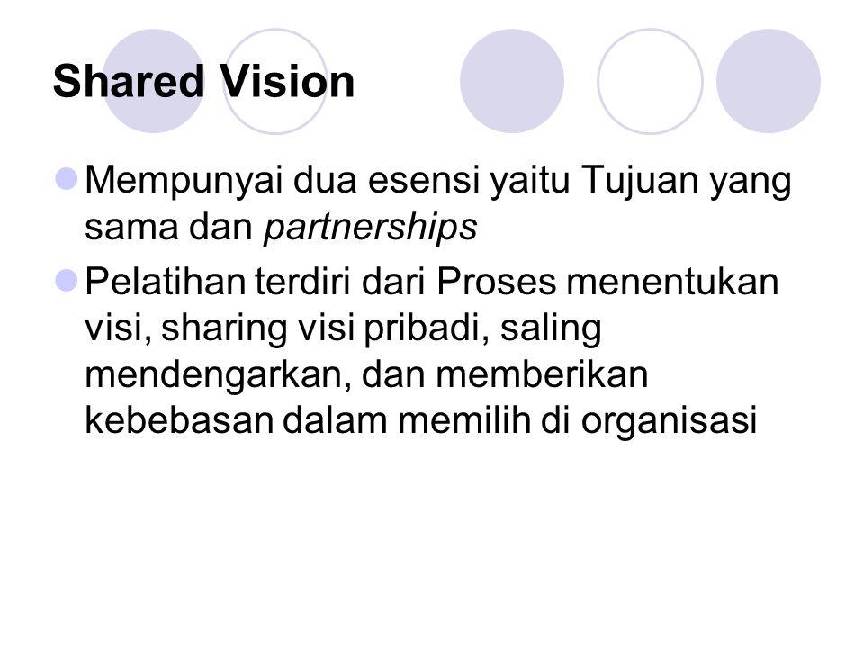 Shared Vision Mempunyai dua esensi yaitu Tujuan yang sama dan partnerships.