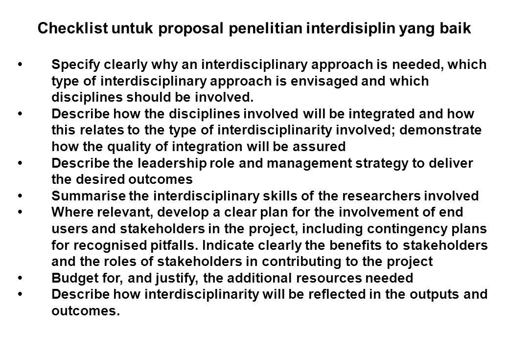 Checklist untuk proposal penelitian interdisiplin yang baik
