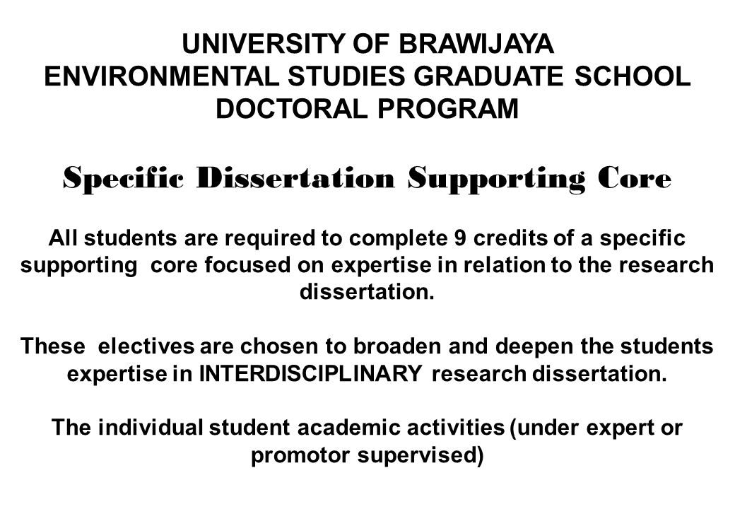 Specific Dissertation Supporting Core