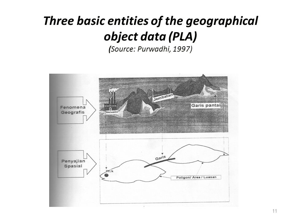 Three basic entities of the geographical object data (PLA) (Source: Purwadhi, 1997)
