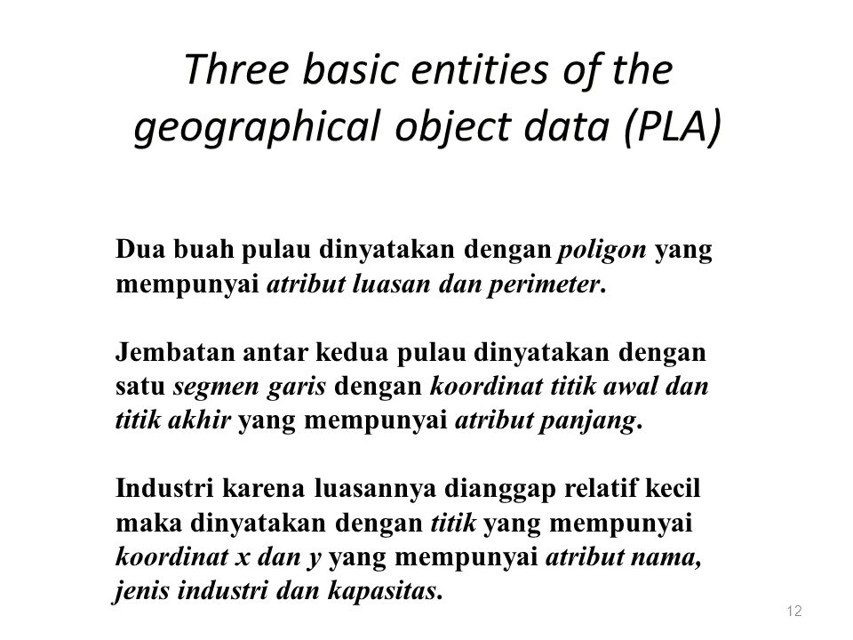 Three basic entities of the geographical object data (PLA)