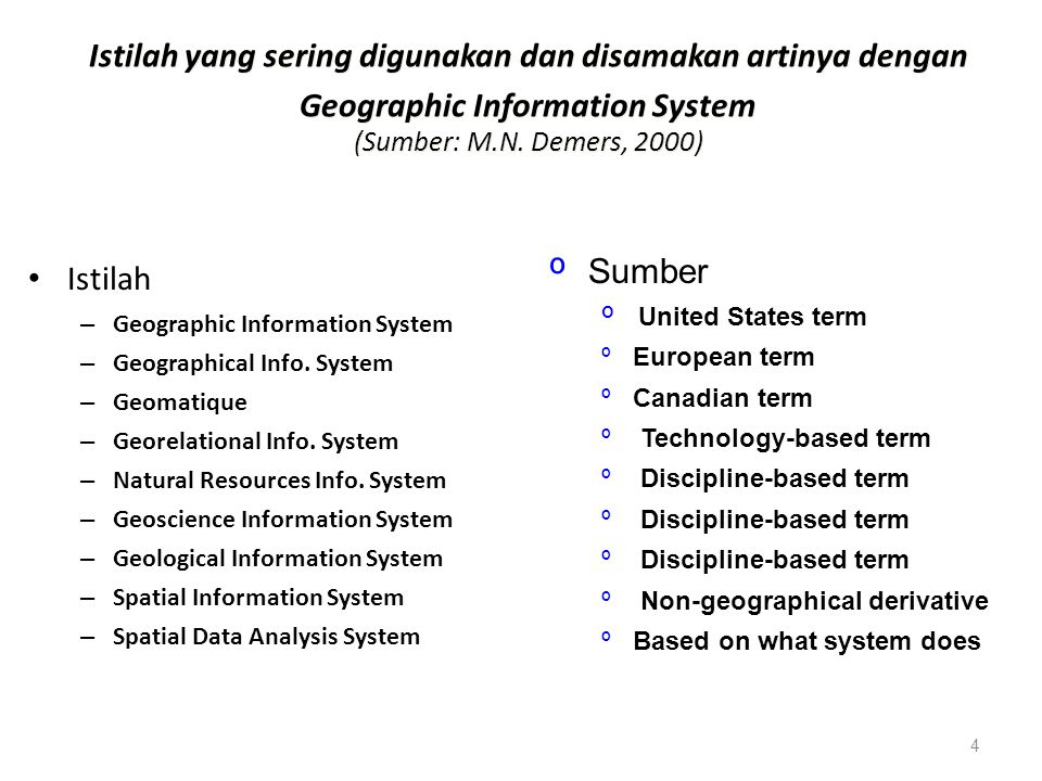 Istilah yang sering digunakan dan disamakan artinya dengan Geographic Information System (Sumber: M.N. Demers, 2000)