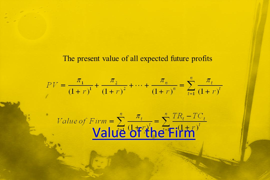 The present value of all expected future profits