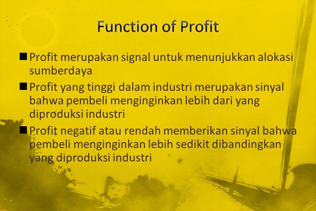 Function of Profit Profit merupakan signal untuk menunjukkan alokasi sumberdaya.