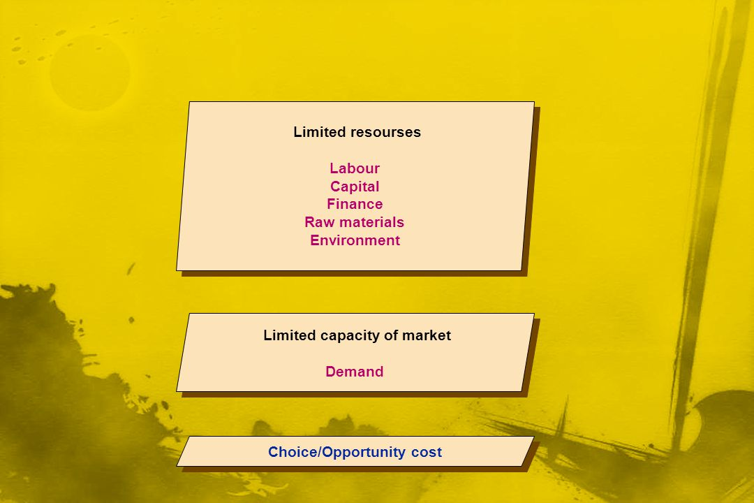 Limited capacity of market Choice/Opportunity cost