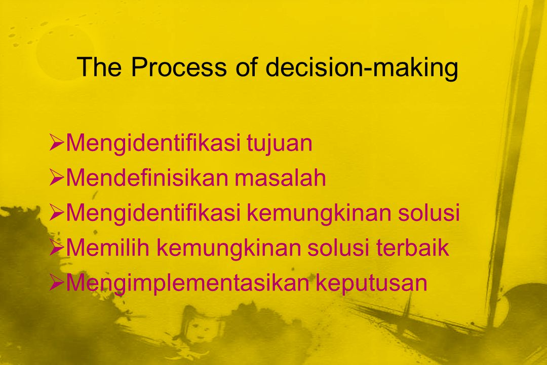 The Process of decision-making