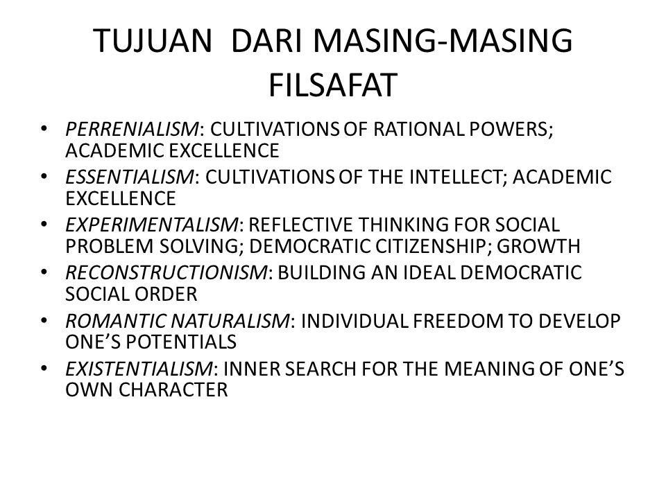 TUJUAN DARI MASING-MASING FILSAFAT