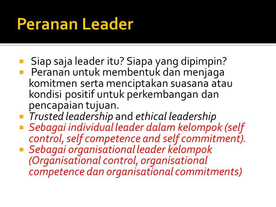 Peranan Leader Siap saja leader itu Siapa yang dipimpin