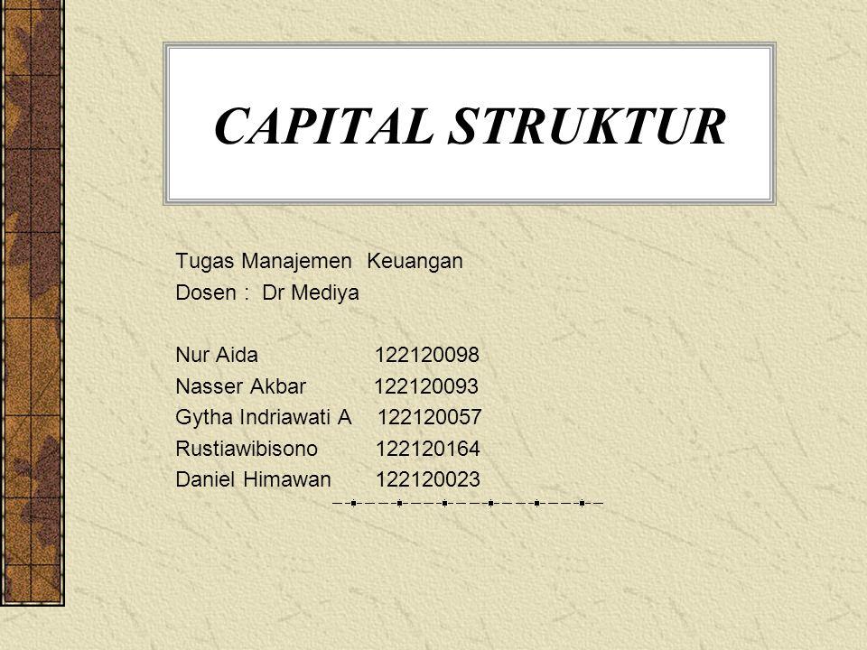 CAPITAL STRUKTUR Tugas Manajemen Keuangan Dosen : Dr Mediya