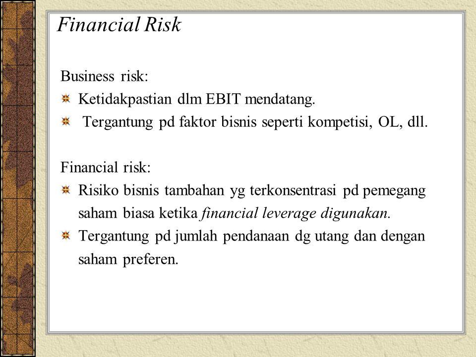 Financial Risk Business risk: Ketidakpastian dlm EBIT mendatang.