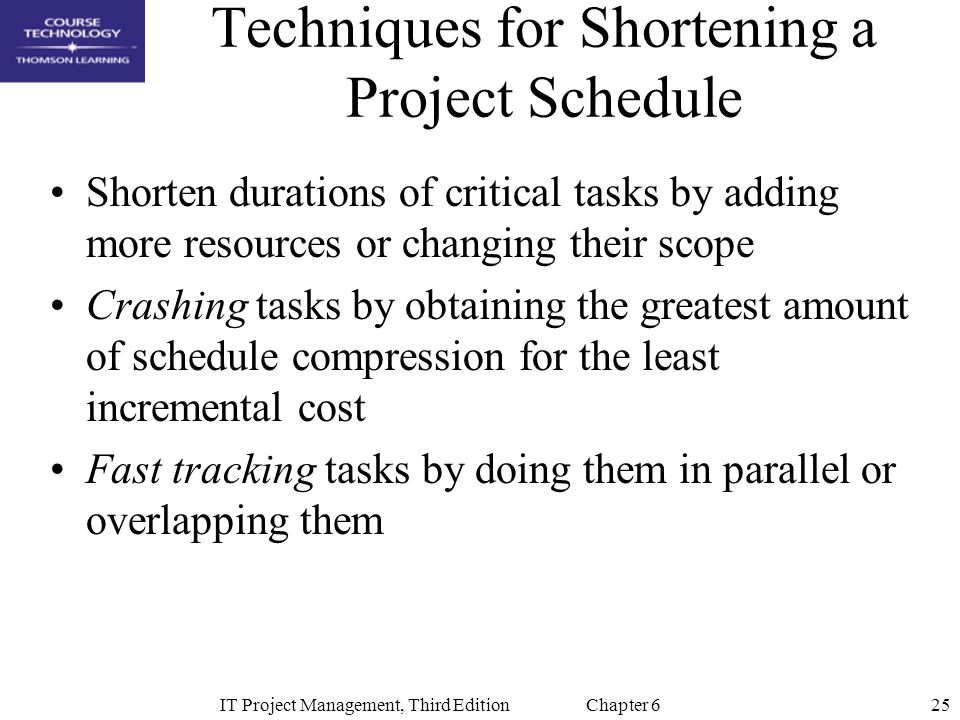 Techniques for Shortening a Project Schedule