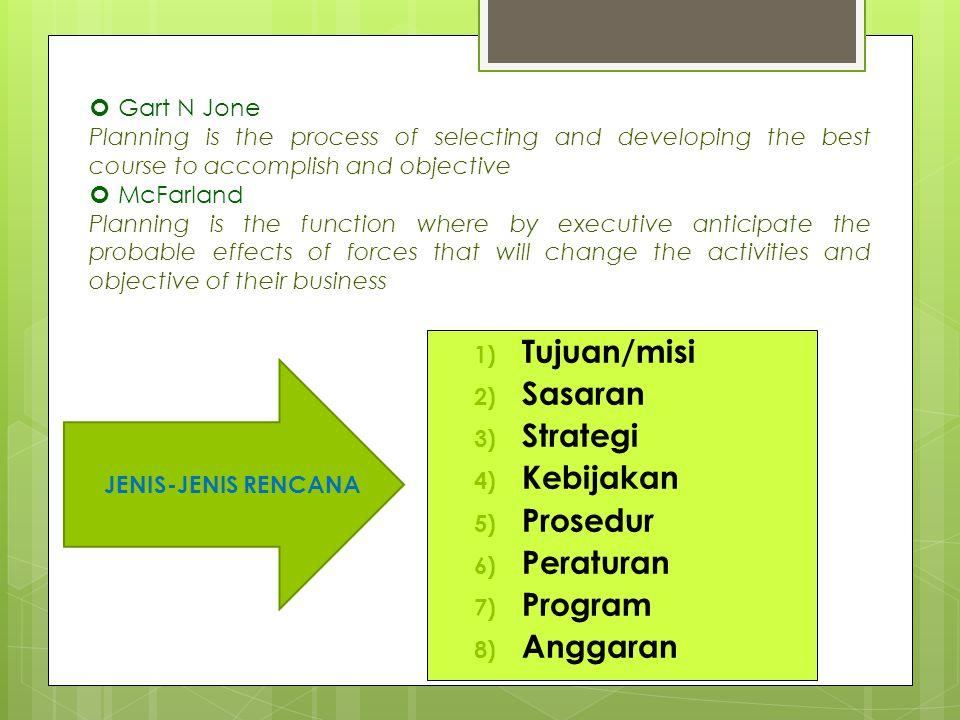 Tujuan/misi Sasaran Strategi Kebijakan Prosedur Peraturan Program