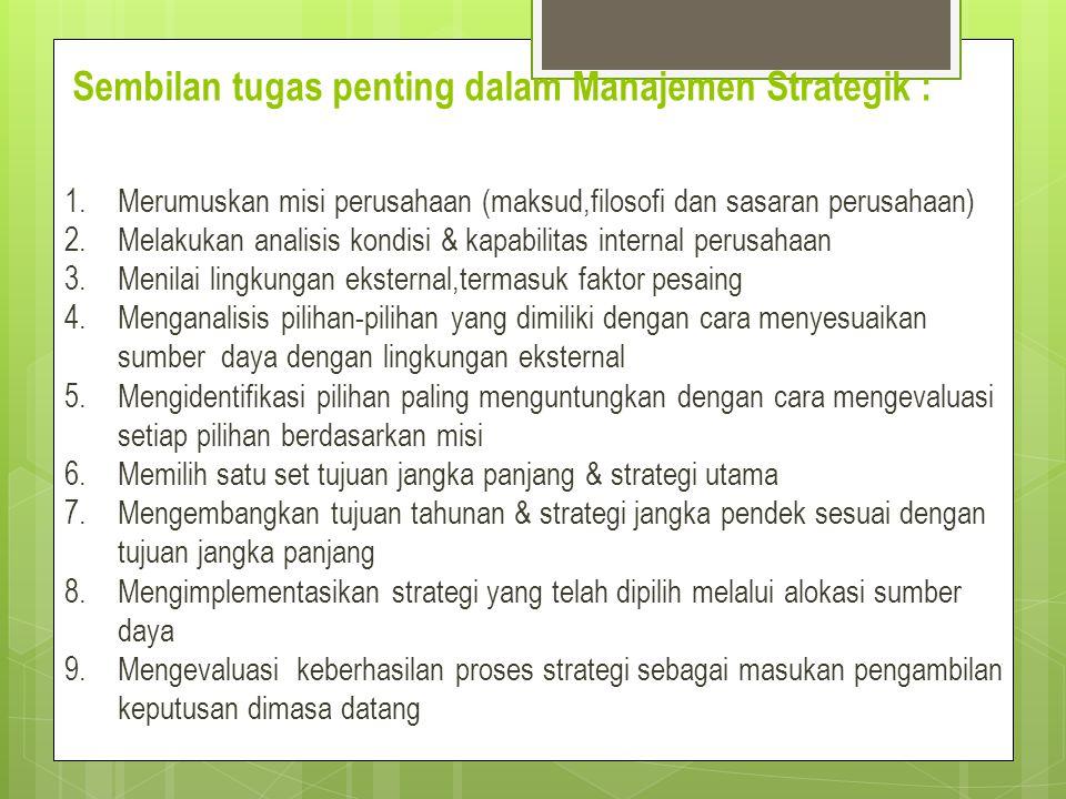 Sembilan tugas penting dalam Manajemen Strategik :