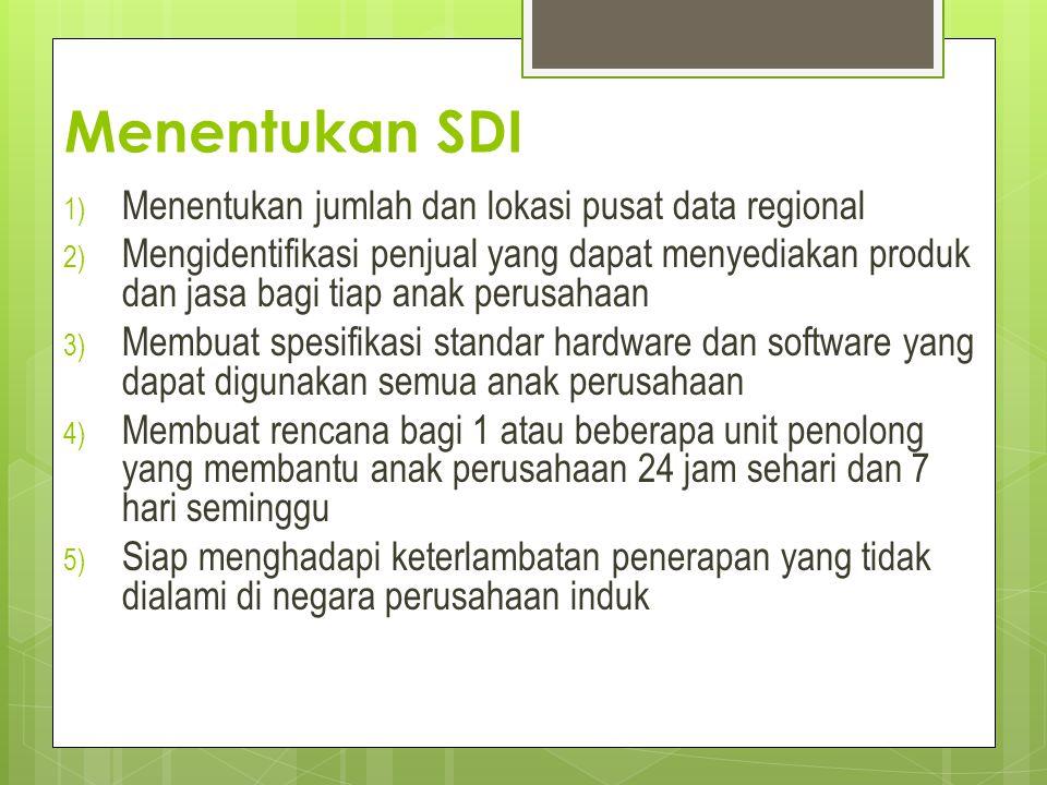 Menentukan SDI Menentukan jumlah dan lokasi pusat data regional