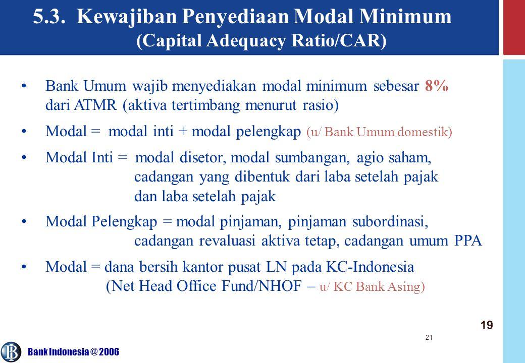 5.3. Kewajiban Penyediaan Modal Minimum (Capital Adequacy Ratio/CAR)