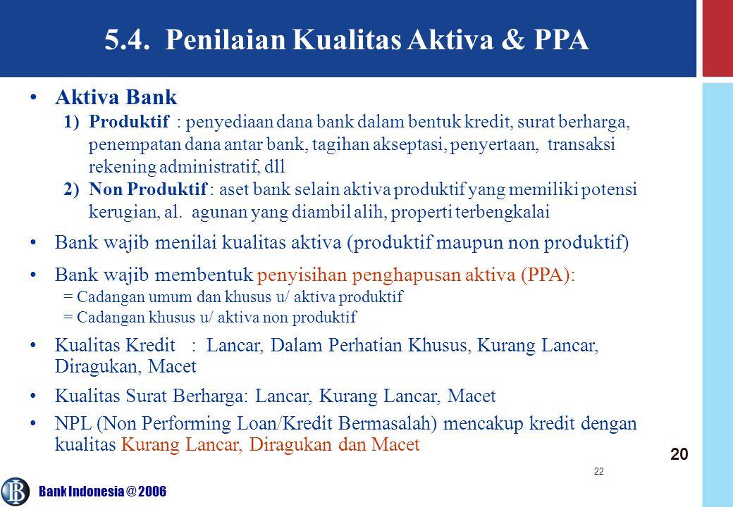 5.4. Penilaian Kualitas Aktiva & PPA