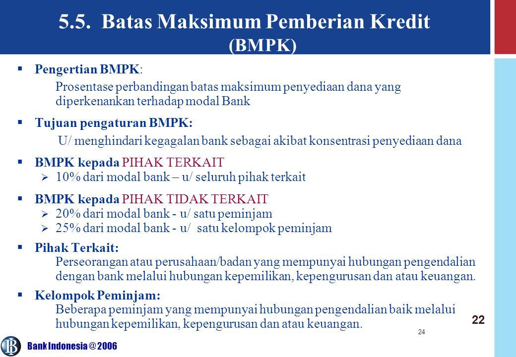 5.5. Batas Maksimum Pemberian Kredit (BMPK)
