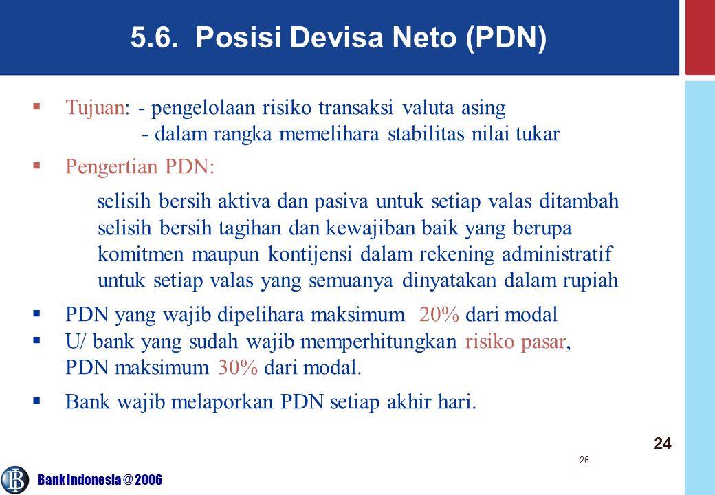 5.6. Posisi Devisa Neto (PDN)