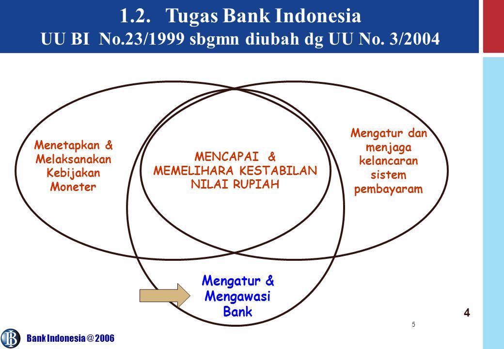 1.2. Tugas Bank Indonesia UU BI No.23/1999 sbgmn diubah dg UU No. 3/2004. Mengatur dan menjaga kelancaran sistem pembayaram.