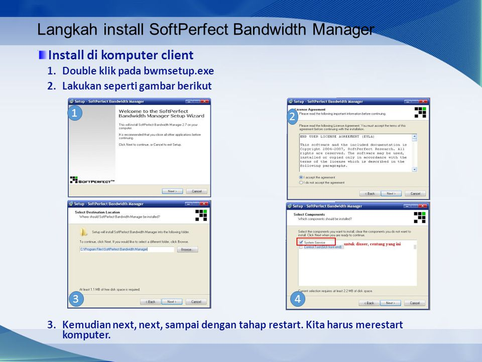 Langkah install SoftPerfect Bandwidth Manager