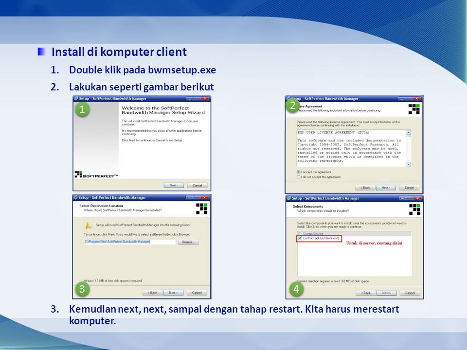 Install di komputer client