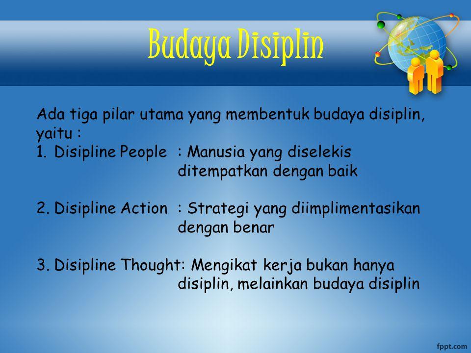 Budaya Disiplin Ada tiga pilar utama yang membentuk budaya disiplin, yaitu : Disipline People : Manusia yang diselekis ditempatkan dengan baik.