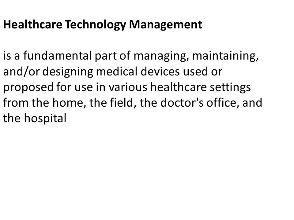 Healthcare Technology Management