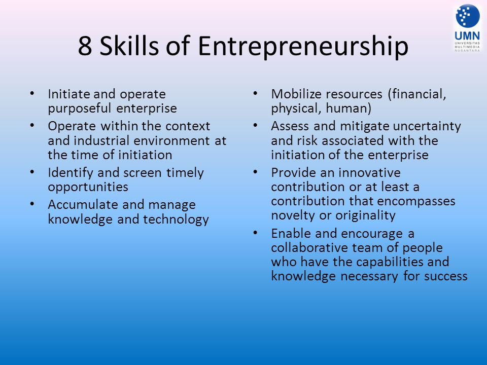 8 Skills of Entrepreneurship