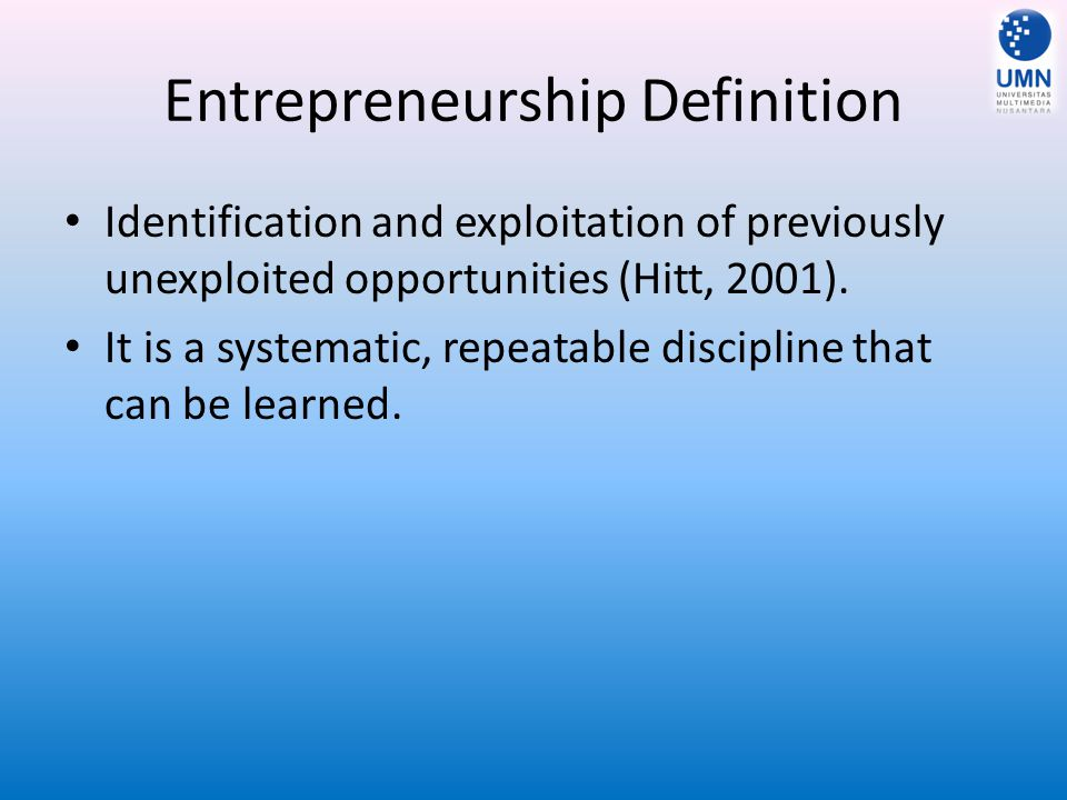 Entrepreneurship Definition