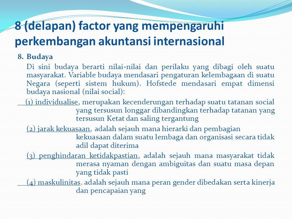 8 (delapan) factor yang mempengaruhi perkembangan akuntansi internasional