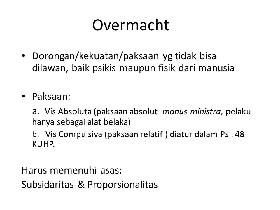 Overmacht Dorongan/kekuatan/paksaan yg tidak bisa dilawan, baik psikis maupun fisik dari manusia. Paksaan: