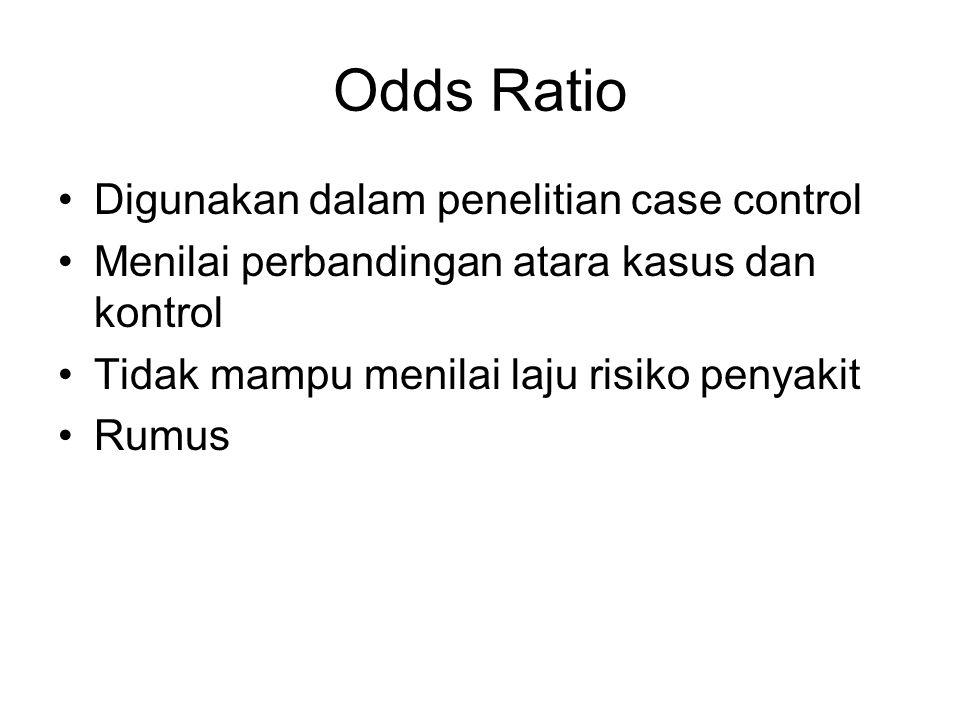 Odds Ratio Digunakan dalam penelitian case control