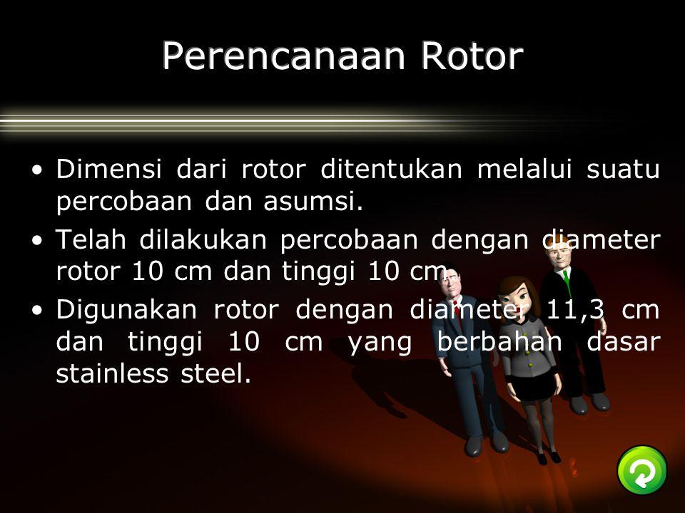 Perencanaan Rotor Dimensi dari rotor ditentukan melalui suatu percobaan dan asumsi.