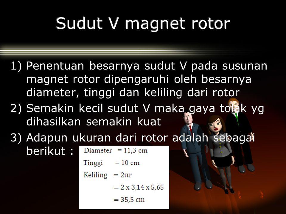 Sudut V magnet rotor Penentuan besarnya sudut V pada susunan magnet rotor dipengaruhi oleh besarnya diameter, tinggi dan keliling dari rotor.