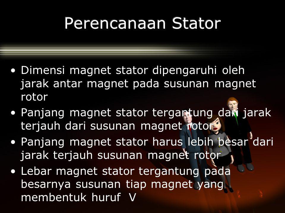 Perencanaan Stator Dimensi magnet stator dipengaruhi oleh jarak antar magnet pada susunan magnet rotor.