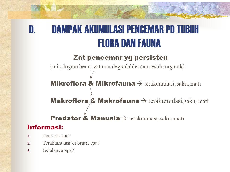 D. DAMPAK AKUMULASI PENCEMAR PD TUBUH FLORA DAN FAUNA
