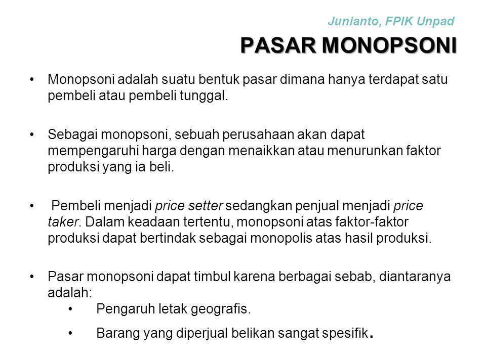 Junianto, FPIK Unpad PASAR MONOPSONI. Monopsoni adalah suatu bentuk pasar dimana hanya terdapat satu pembeli atau pembeli tunggal.