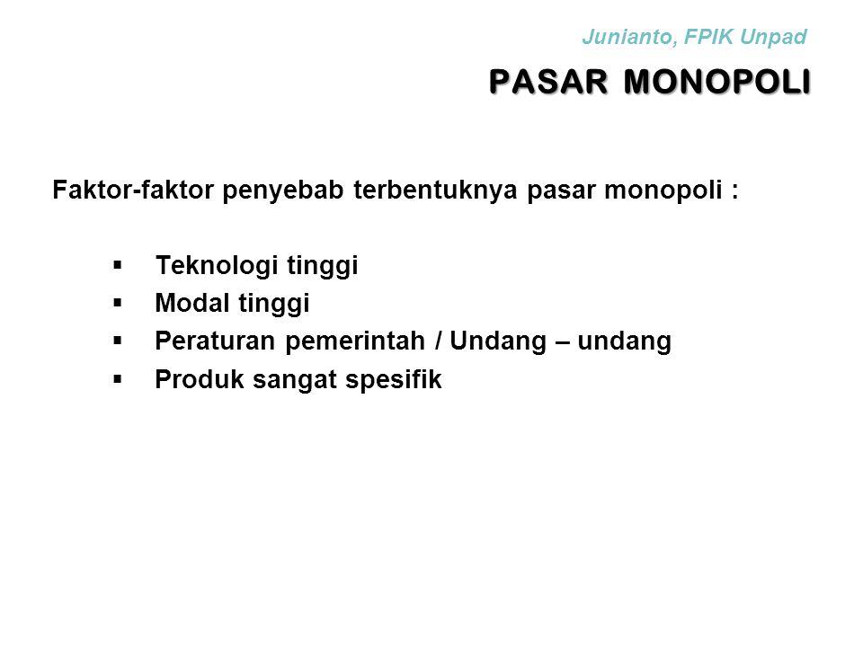 PASAR MONOPOLI Faktor-faktor penyebab terbentuknya pasar monopoli :