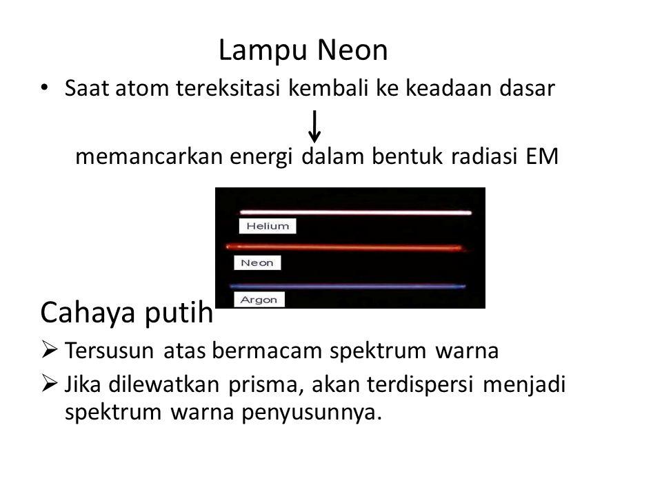 Lampu Neon Cahaya putih Saat atom tereksitasi kembali ke keadaan dasar